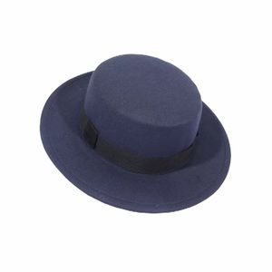 NEW Navy Flat Top Wide Brim Black Band Hat Fedora